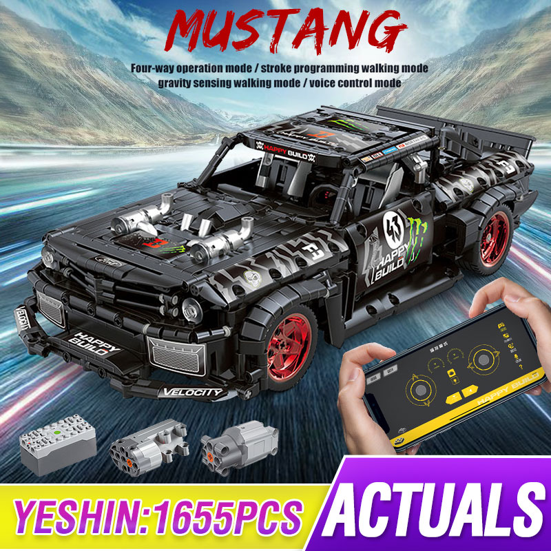 Compatible Lepining Technic RC Ford Mustang Hoonicorn RTR V2 City Car MOC-22970 Led Bricks Model Building Blocks Kids DIY TOYS