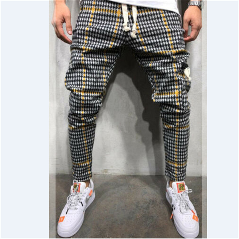 Men Plaid Long Pants Fashion High Quality 2019 Spring Autumn Casual Young Man Hip Hop Trousers Male Lace Up Elastic Harem Pants