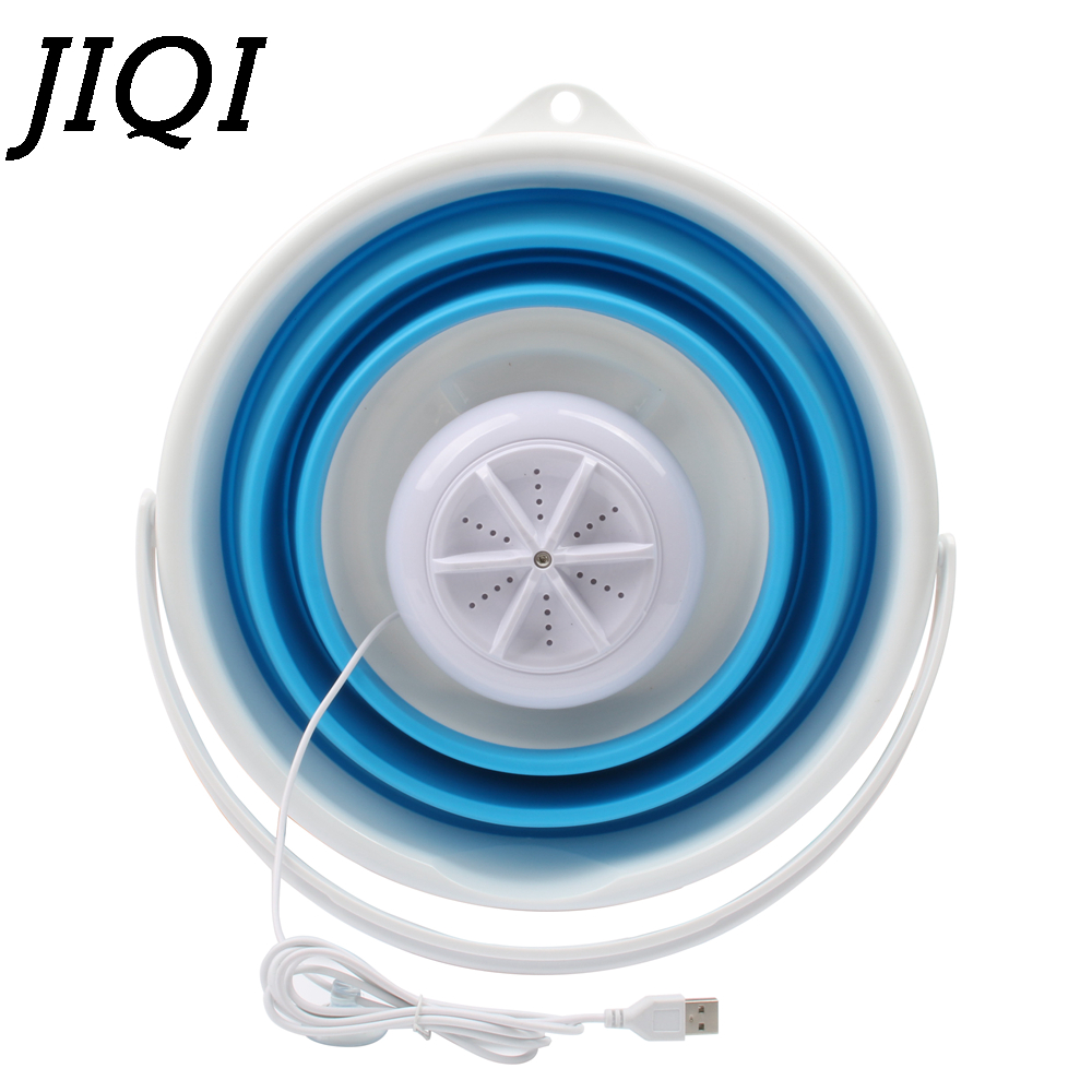 JIQI Mini Portable Automatic Washing Machine Single Barrel Ultrasonic Cleaner Turbine Foldable Bucket USB Laundry Clothes Washer