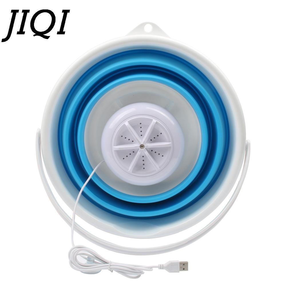 JIQI Mini Portable Automatic Washing Machine Single Barrel Ultrasonic Cleaner Turbine Foldable Bucket USB Laundry Clothes Washer