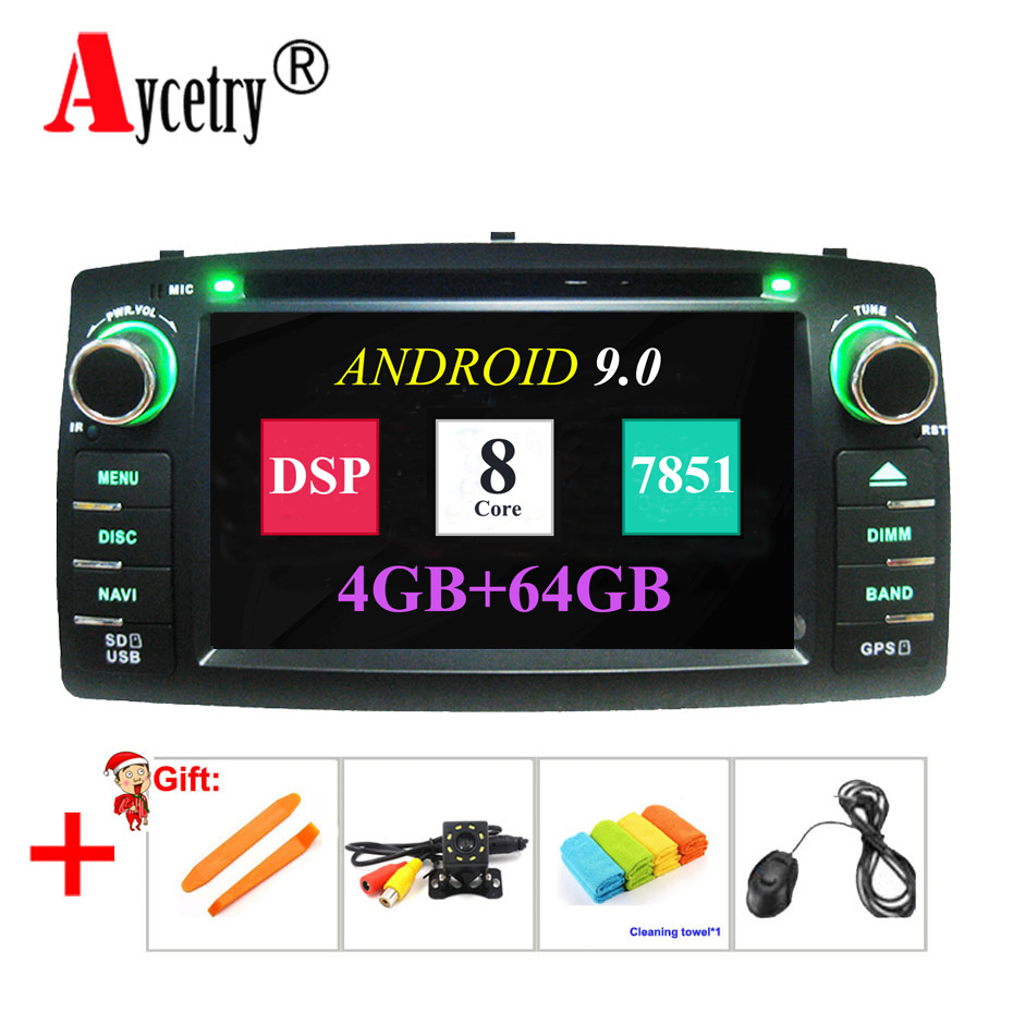 4G 64G 8 CORE 2 Din Android 9 0 Car Radio DVD player For TOYOTA corolla