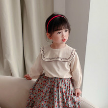 Cotton Blouse Children Clothes Long-Sleeve Girls Kdis New-Arrival