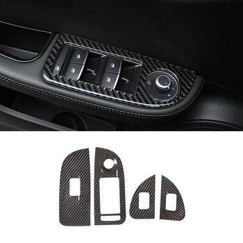 Carbon Fiber Style Window Lift Switch Button Frame Cover for Alfa Romeo Giulia 2017-2019
