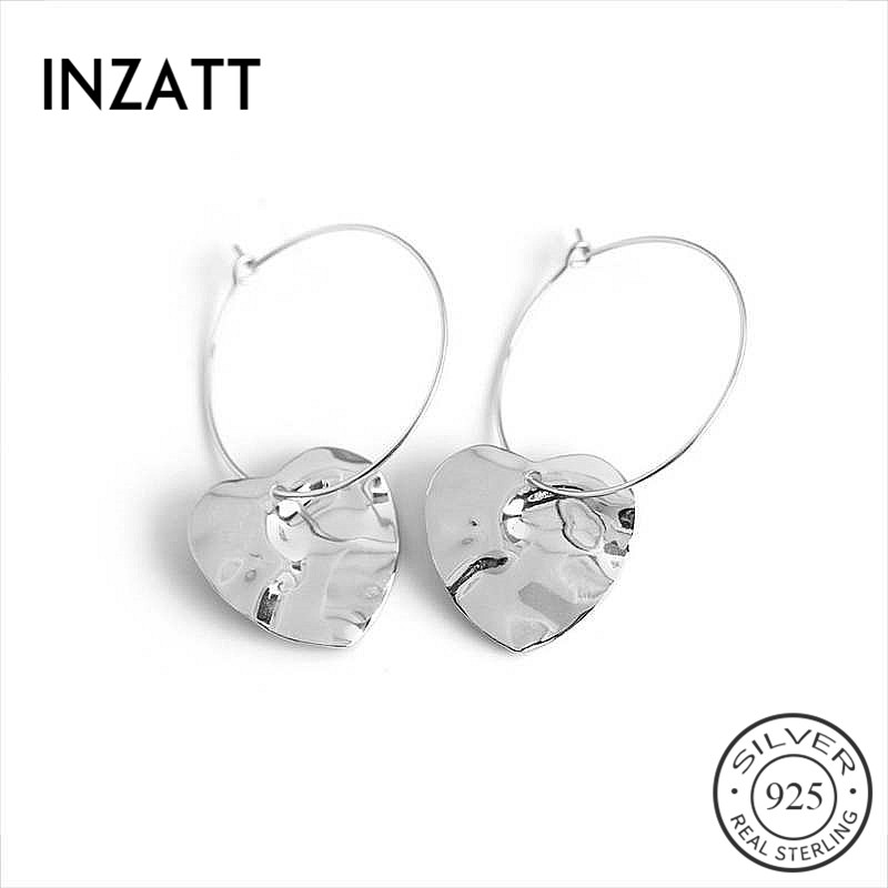 INZATT Real 925 Sterling Silver Geometry Round Triangle Hoop Earrings For Fashion Women Party Fine Jewelry Cute Accessories Gift