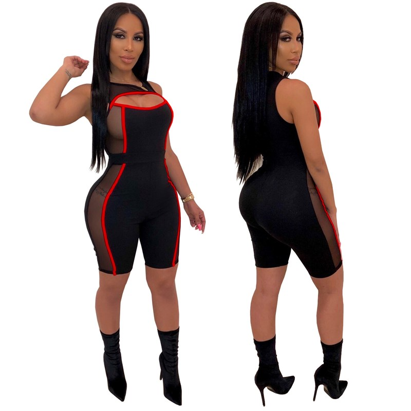 Nice Women Striped Mesh Patchwork Summer Romper One Piece Outfits Overalls Sexy Bodycon Playsuit