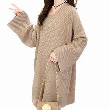 цена Autumn Women Chunky Knitted Pullovers V-neck Mandarin Sleeve Long Sweaters Loose Oversized Knitwear Relaxed Style Sweater Female в интернет-магазинах