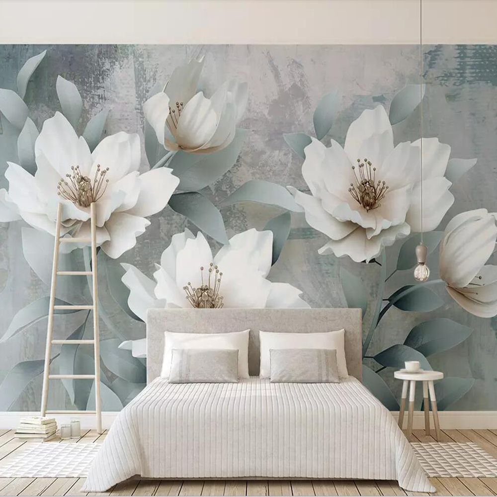 Drop Shipping Custom 3D Photo Wallpaper Retro Simple 3d Embossed Flowers Living Room Bedroom Wall Decoration Mural Wallpaper