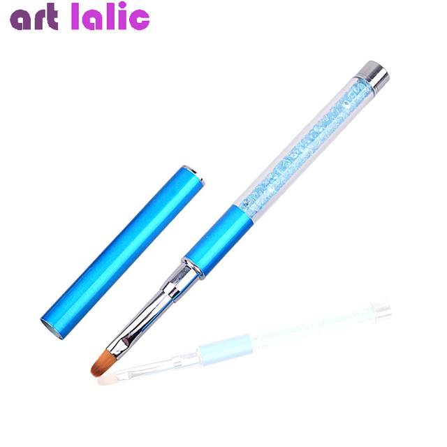 Nail Art Brush Pen Rhinestone Diamond Metal Acrylic Handle Carving Powder Gel Liquid Salon Liner Nail Brushes With Cap 2