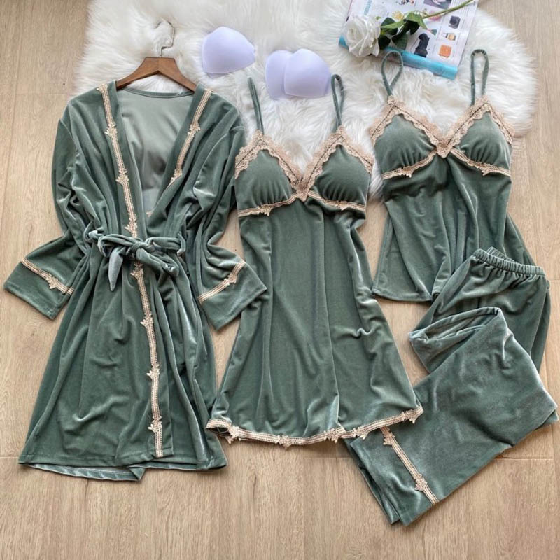 4 Pieces Winter Gold Velvet Robe Sets Suit Sexy Lace Sleepwear Warm Dressing Gown Sleeveless Femme Thicken Home Clothes Pyjama