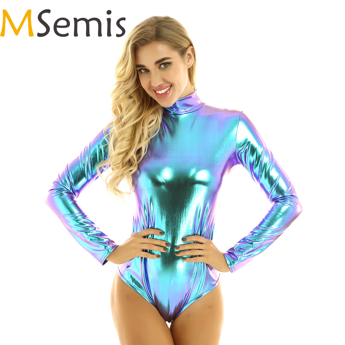 MSemis Women Metallic Holographic Clothes Gymnastic Leotard Bodysuit Clubwear Musical Festival Rave Costumes Pole Dance Clothing