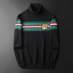 Новинка, мужские роскошные хлопковые Повседневные свитера с вышивкой в виде головы тигра, пуловер, Азиатский размер, высокое качество, Drake # ...