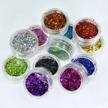 12 frascos/conjunto laser misturado brilho do prego em pó lantejoulas holográfico colorido prego flocos 3d diy charme poeira para decorações da arte do prego