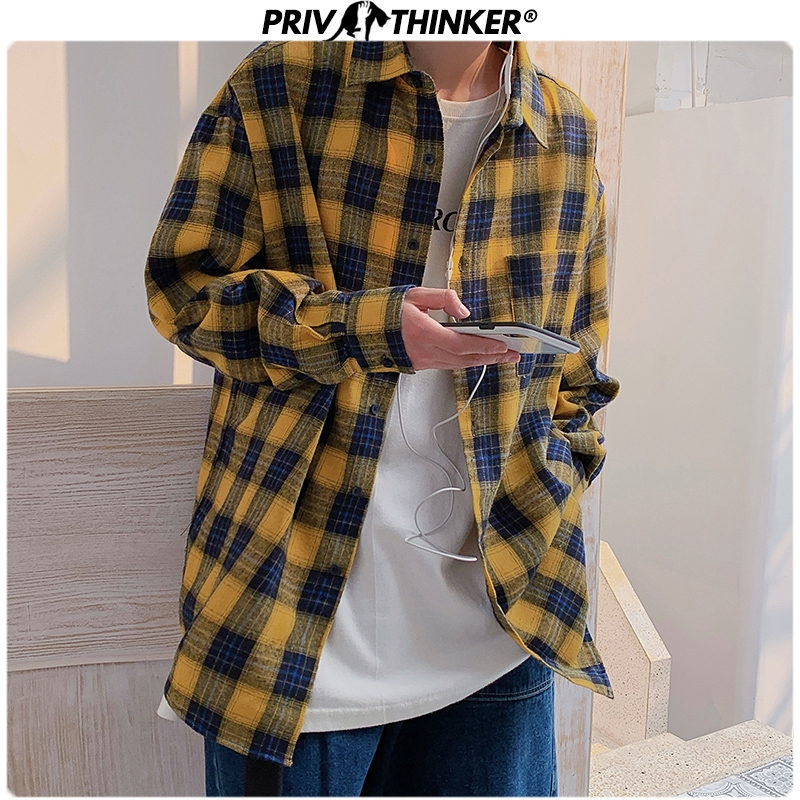 Privathinker Men Spring Plaid 2020 Shirt Mens Japan Style Streetwear Causal Shirts Long Sleeve Shirt Plus Size Fashion Clothing