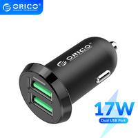 ORICO Dual USB Car Charger 2.4A Intelligent Output 17W Travel Charger for Mobile Phone Cigar Lighter DC 12 24V|Mobile Phone Chargers|Cellphones & Telecommunications -