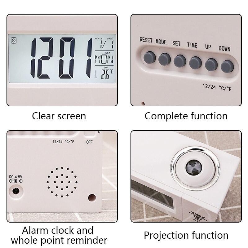 Купить с кэшбэком Digital LCD Rotation Projector Projection Alarm Clock Ceiling Display 12/24 H Snooze Desk Table Clock Temperature For Bedrooms