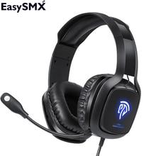 EasySMX C06 гарнитура Gamer наушники игровая гарнитура с шумоподавлением Микрофон Стерео светодиодный USB наушники для ПК PS4 Gamer