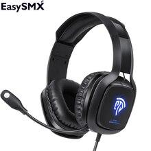 Easysmx c06 fone de ouvido gamer gaming fone de ouvido com cancelamento de ruído microfone estéreo led usb para pc ps4 gamer