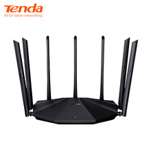 Tenda ac23 ac2100 roteador gigabit 2.4g 5.0ghz dupla-faixa 2033mbps roteador sem fio wi-fi repetidor com 7 antenas de alto ganho mais largo