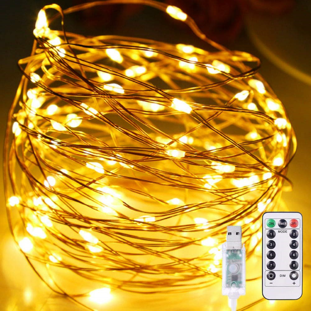8modes USB Powered Christmas Lights Garland 1/2/3/5/10M Copper Wire LED String Fairy Light For Wedding Party New Year Decoration