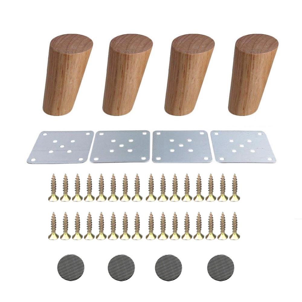 4PCS Oak Wood 100 120 150 180 200mm Furniture Legs Reliable Diagonal Side Cabinet Table Sofa Legs Iron Pads Gaskets Screws
