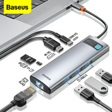 Baseus – HUB USB type-c vers HDMI, adaptateur RJ45, lecteur de cartes, Station d'accueil pour Macbook Pro Surface iPad, 3.0 PD, 100W