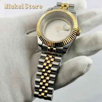 Bliger 39mm sapphire glass silver gold plated sterile watch case  fit ETA 2836,Mingzhu DG2813 3804,miyota8215 821A 8205 movement