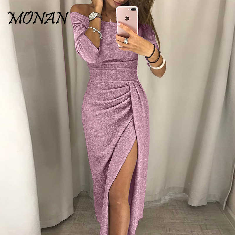 Long Sexy Off Shoulder Party Dress Women High Slit Bodycon Shein Dress Autumn Three Quarter Sleeve Bright Silk Shiny Dress