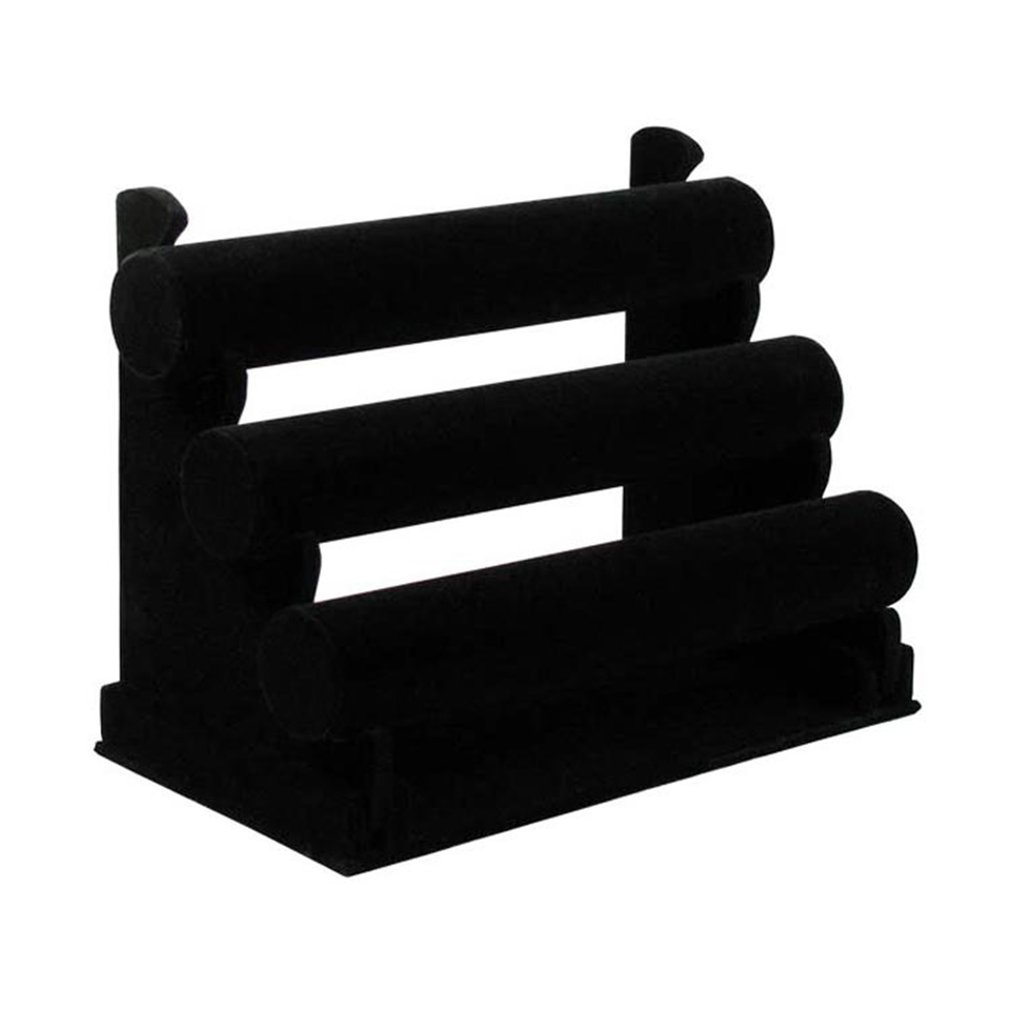 Black Velvet Three Layer Jewelry Display Bangle Bracelets Holder Watch Organizer Rack Storage Holder Jewelry Accessories