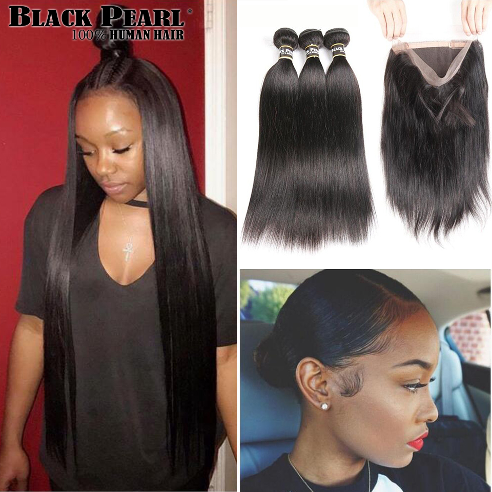 Black Pearl Pre-Colored 360 Lace Frontal With Bundles 3/4Pcs/lot Straight Human Hair Bundles With Closure Non-Remy Hair Weave
