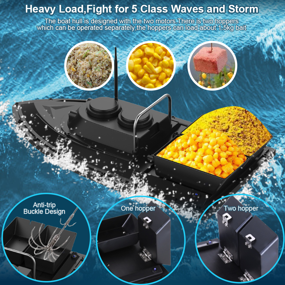 Image 4 - D11 RC Bait Boat Fishing Finder 1.5kg Loading 500m Remote Control Boat Double Motors 2 Led Lights Fixed Speed Fishing ToolsRC Boats   -