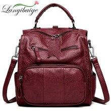 女性レザーバックパック高品質レディース多機能bagpack高級デザイナー大容量カジュアルデイパックmochilas