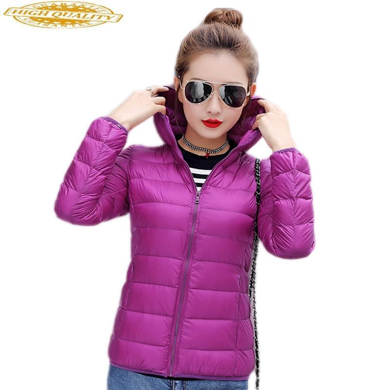 Ultra Thin Down Jacket Woman Hooded Plus Size Womens Coats Light Winter Coat Women's Jackets Jaqueta Feminina KJ343