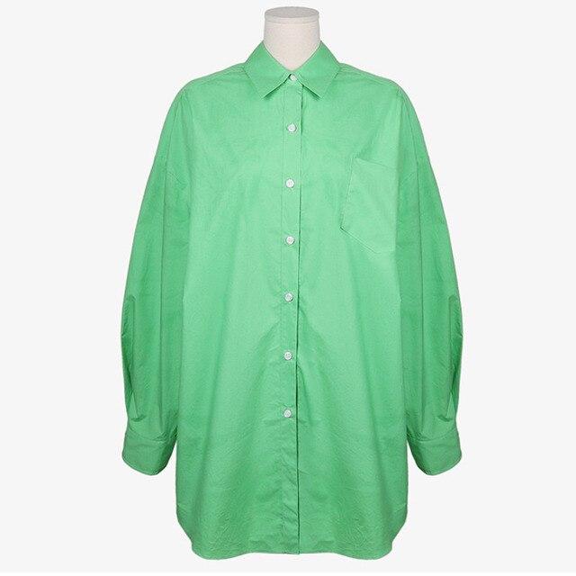 [EWQ] Korean Chic Spring Temperament Light Green Shirt Coats Women Loose Casual Blouse Turn-down Collar Blouse 2021 Summer 6