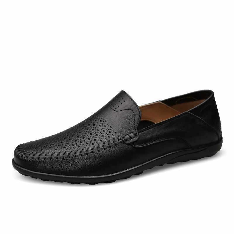 LZJ İtalyan Erkek Ayakkabı Rahat Lüks Marka Yaz erkek mokasen ayakkabıları Hakiki Deri Moccasins Rahat Nefes Tekne Ayakkabı üzerinde Kayma