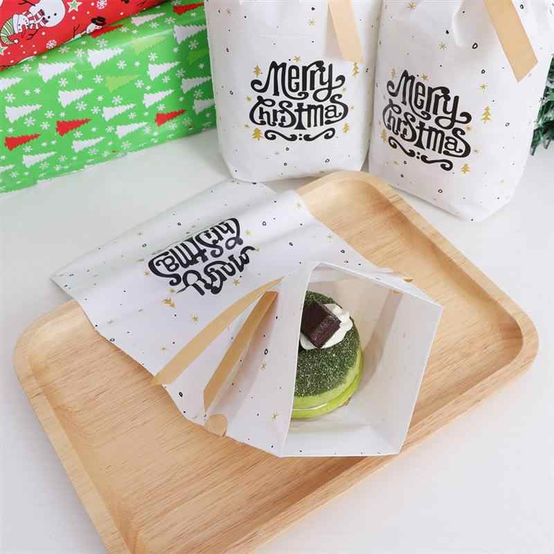 50PCS Gift Bags Christmas Plastic Party Drawstring Pouches Packaging Bags Favor Bags for Candy Cookie Jewelry