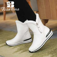 RIZABINA 4 Colors New Arrival Zipper Winter Fur Ankle Boots Warm Thick Bottom Round Toe Snow Boots Mujer Footwear Size 31-42