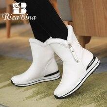 Ankle-Boots Bottom Round-Toe Size-31-42 Winter 4-Colors Footwear Fur RIZABINA Zip Zipper
