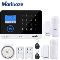 Marlboze 4G 3G Tuya Smart Home WIFI GSM Buglar Alarm System Smart Leben App Wireless Security System Kit alexa Google Assistent