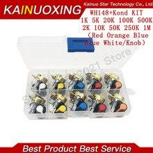 Набор потенциометров WH148, B1K, 2K, 5K, 10K, 20K, 50K, 100K, 500K, 1 м, 15 мм, линейный конический роторный резистор, набор резисторов, 3 контакта с крышкой
