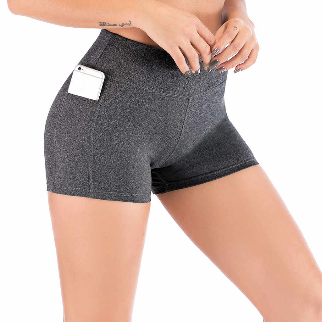Side Mobiele Telefoon Zakken Sport Shorts Vrouwen Hoge Taille Yoga Shorts Naadloze Gym Leggings Korte Atletische Shorts Workout Push Up