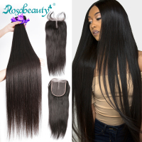 Rosabeauty 28 30 40 Inch Brazilian Weave Bundles Natural Color Straight 3 4 Bundles With Swiss Lace Closure Remy Human Hair and
