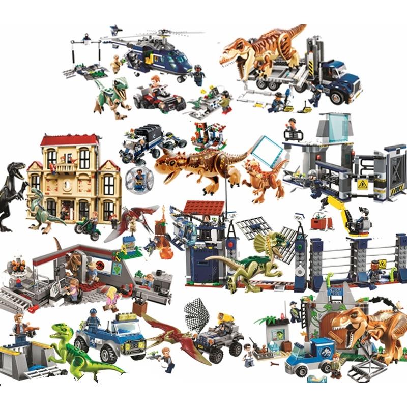 Jurassic World Owen Indominus Rex Building Blocks Jurrassic World 2 Dinosaur Figures Bricks Toys  For Kids