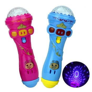 Projection Microphone Flash LED Light Torch Shape Starry Sky Light Stick Light Glowing Toys Musical Instrument Christmas Gift