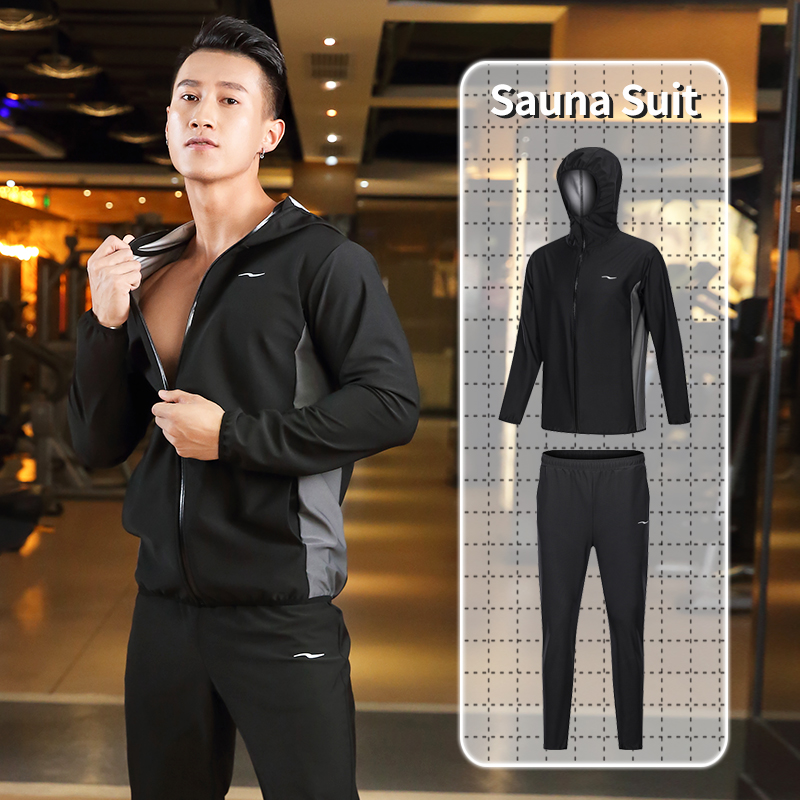 2020 New Sauna Suit Men Zipper Hoodies Gym Clothing Set For Weight Loss Running Fitness Training Sweating Sportwear Workout Male