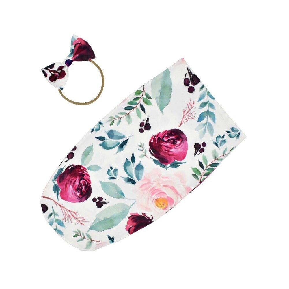 Boy Girl Soft Toddler Infant 0 To 2 Month Baby Sleep Sack Set Newborn Wrap Photography Props Muslin Blanket Bow Headband Swaddle