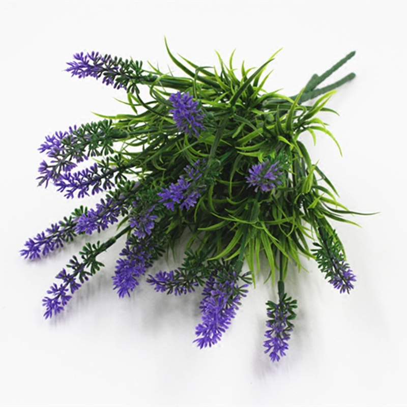 6 Heads/Bouquet Artificial Purple Lavender Flowers With Green Leaves Wedding Home Party Decoration DIY Craft Artificial Grass