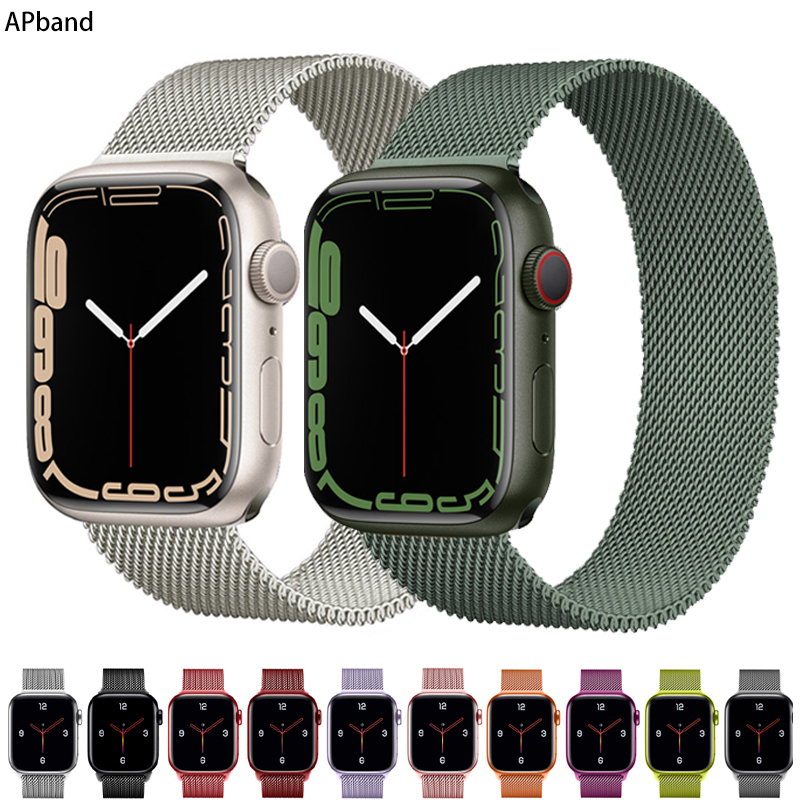 Strap For Apple watch band 44mm 40mm 45mm 41mm stainless steel Metal bracelet magnetic loop iWatch Apple watch 3 4 5 SE 6 7