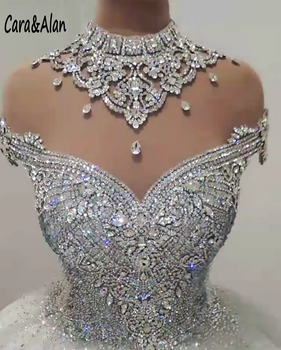 Vestidos de novia de lujo con Espalda descubierta, vestido de novia con cristales brillantes, cuello alto, con cuentas, 2020