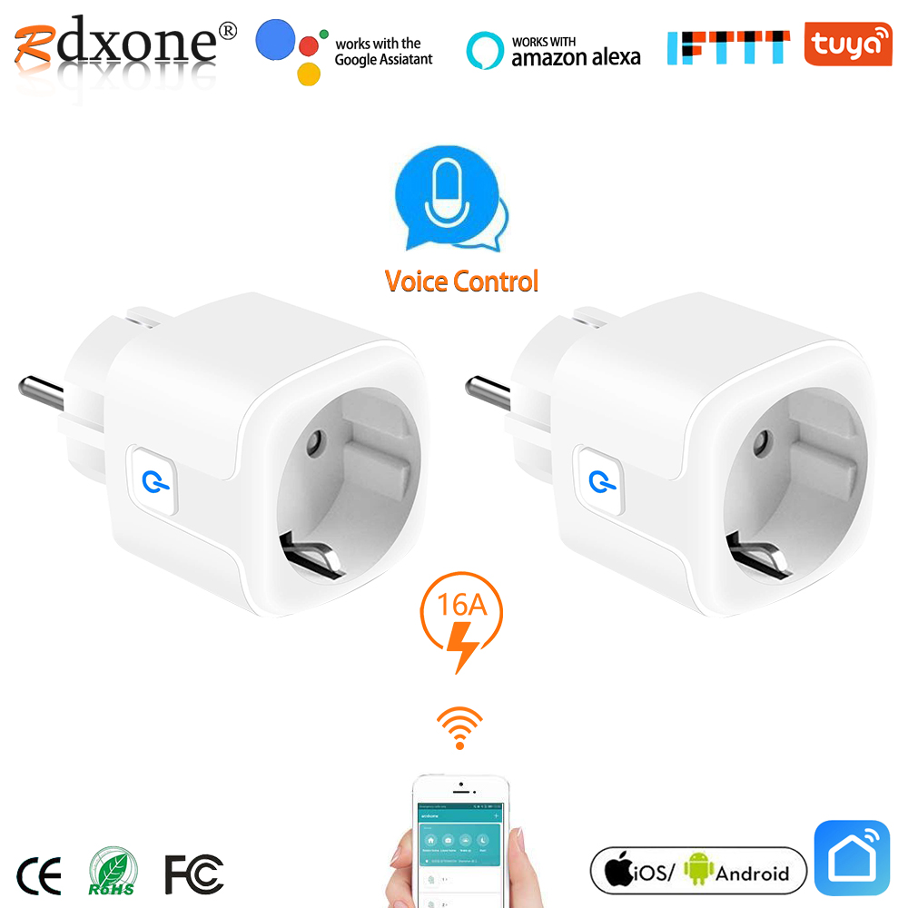 Smart WiFi Plug 16A Remote Voice Control Power Monitor Socket Outlet Timing Function work with Alexa Google Home Tuya(China)