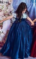 Burgundy Princess Girls Pageant Dresses Velvet Jewel Neck Short Sleeves Ball Gown Kids Clothes